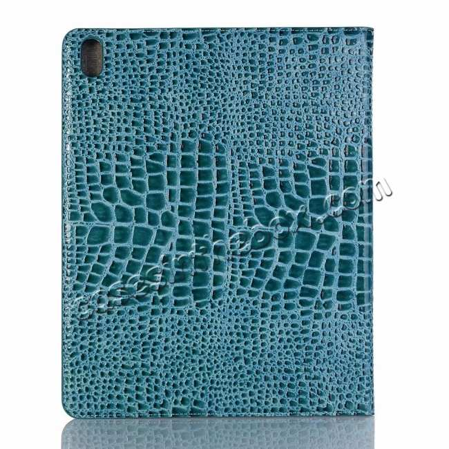 cheap Luxury Crocodile Pattern Stand Leather Case for iPad Pro 12.9 2018 - Blue