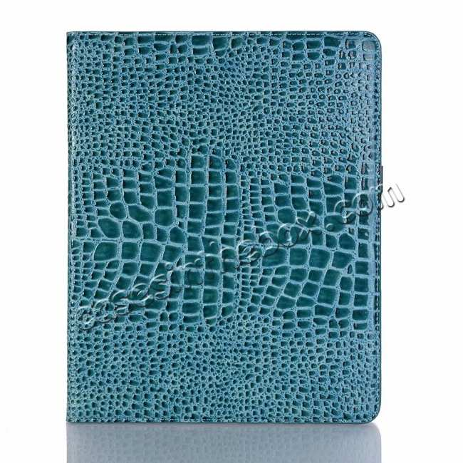top quality Luxury Crocodile Pattern Stand Leather Case for iPad Pro 12.9 2018 - Blue