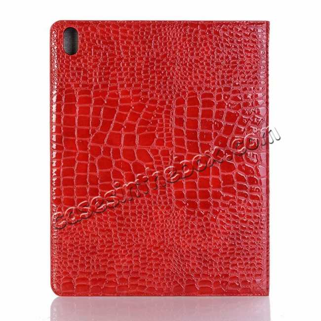 top quality Luxury Crocodile Pattern Stand Leather Case for iPad Pro 12.9 2018 - Red