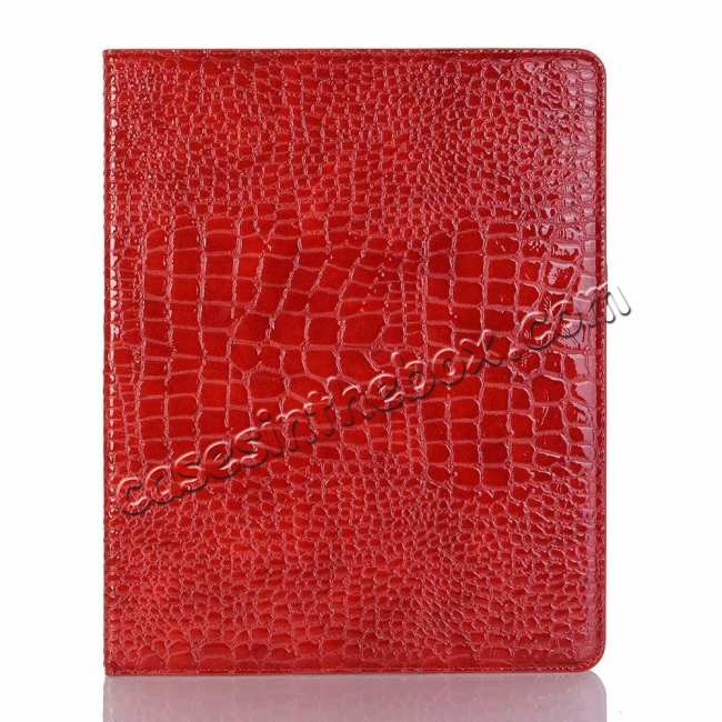 best price Luxury Crocodile Pattern Stand Leather Case for iPad Pro 12.9 2018 - Red