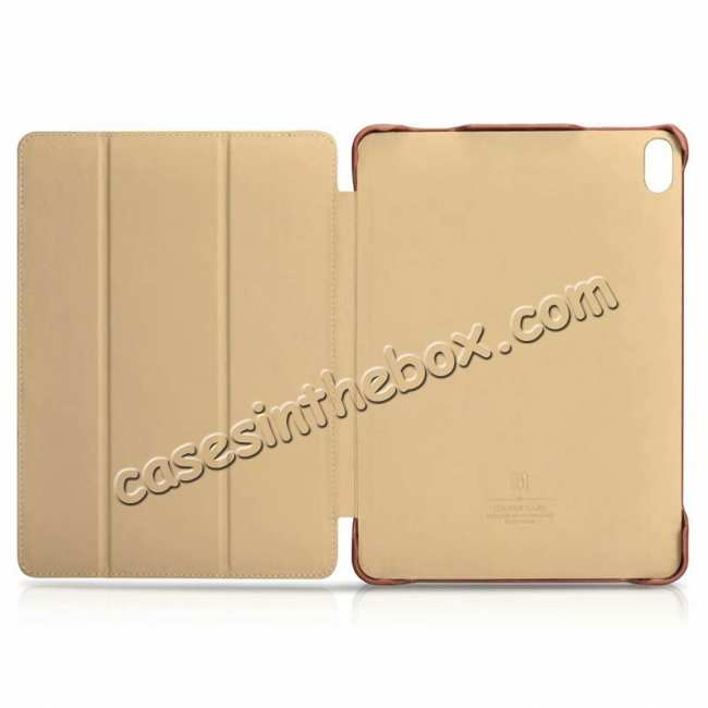 top quality ICARER Vintage Series Genuine Leather Smart Case For iPad Pro 11 inch - Khaki