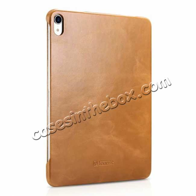 cheap ICARER Vintage Series Genuine Leather Smart Case For iPad Pro 11 inch - Khaki