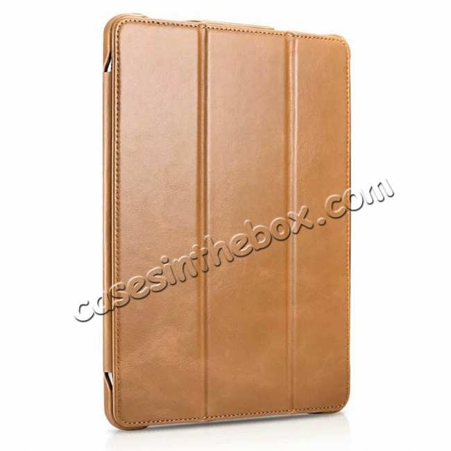discount ICARER Vintage Series Genuine Leather Smart Case For iPad Pro 11 inch - Khaki