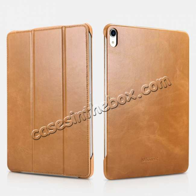 wholesale ICARER Vintage Series Genuine Leather Smart Case For iPad Pro 11 inch - Khaki