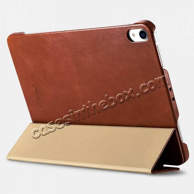 best price ICARER Vintage Series Genuine Leather Smart Case For iPad Pro 11 inch - Khaki