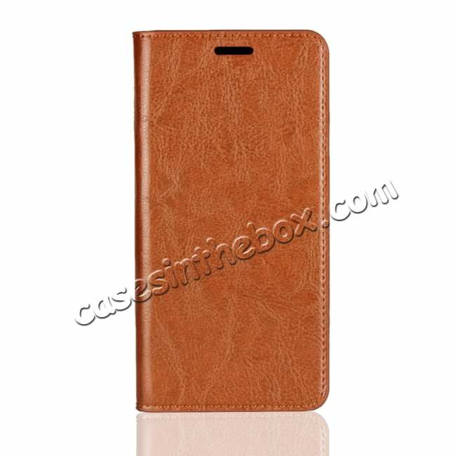 discount Flip Magnetic Wallet Genuine Leather Case Cover For Samsung Galaxy S10 - Brown