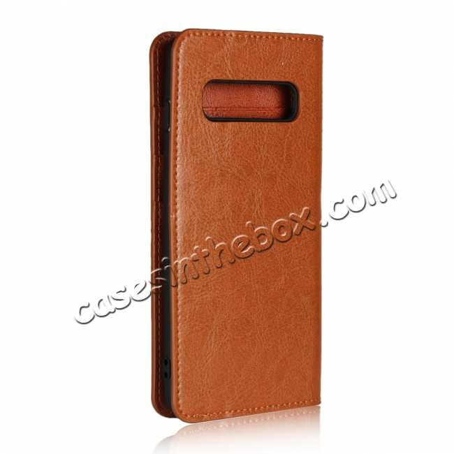 cheap Flip Magnetic Wallet Genuine Leather Case Cover For Samsung Galaxy S10 - Brown