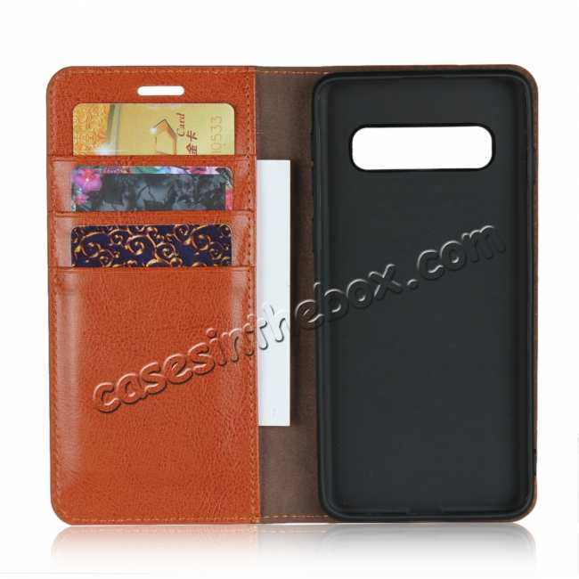 top quality Flip Magnetic Wallet Genuine Leather Case Cover For Samsung Galaxy S10 - Brown