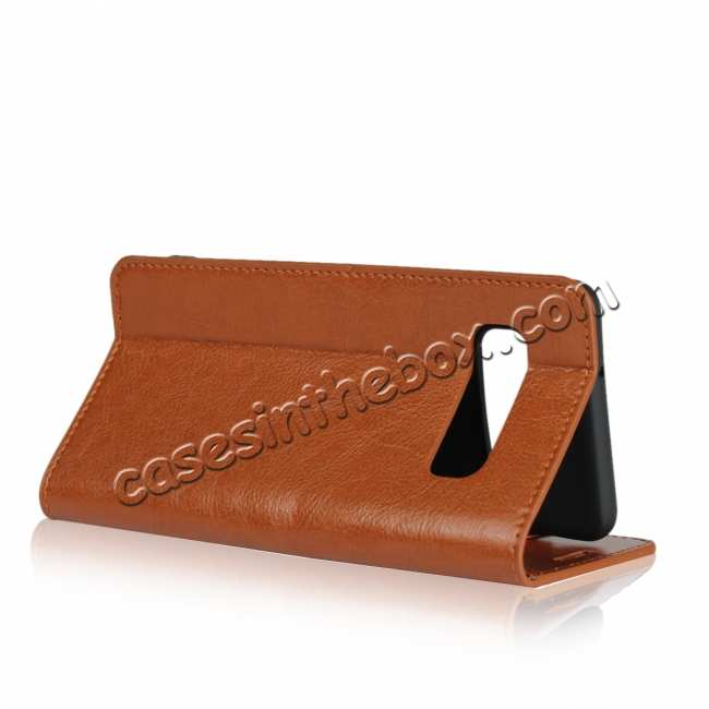 best price Flip Magnetic Wallet Genuine Leather Case Cover For Samsung Galaxy S10 - Brown