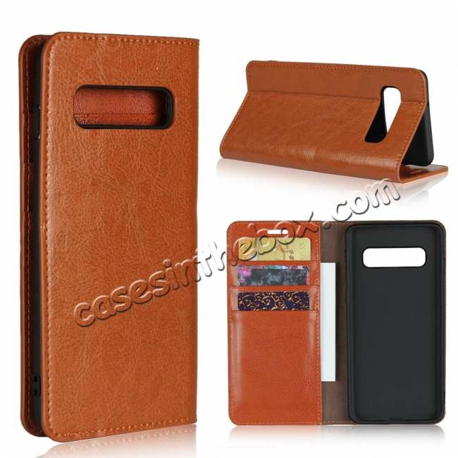 wholesale Flip Magnetic Wallet Genuine Leather Case Cover For Samsung Galaxy S10 - Brown