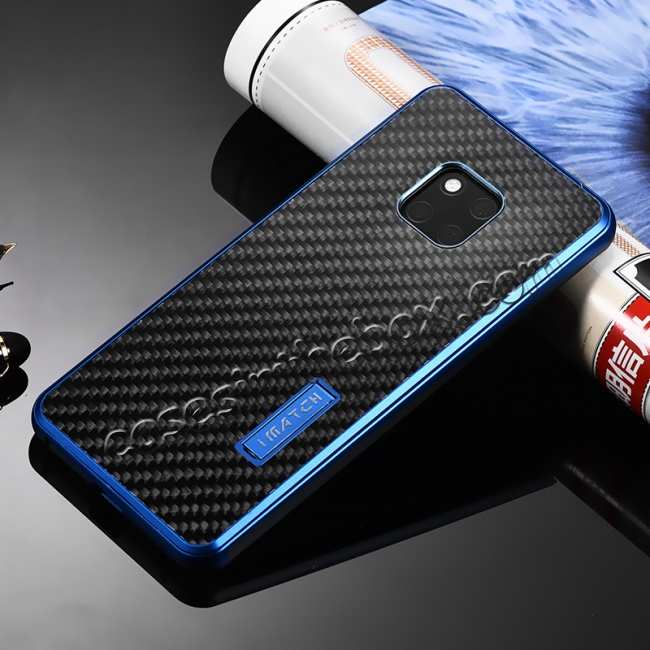 discount Shockproof Aluminium Metal Carbon Case for Huawei Mate 20 Pro - Black&Blue