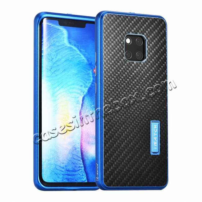 wholesale Shockproof Aluminium Metal Carbon Case for Huawei Mate 20 Pro - Black&Blue