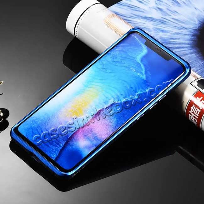 cheap Shockproof Aluminium Metal Carbon Case for Huawei Mate 20 Pro - Black&Blue