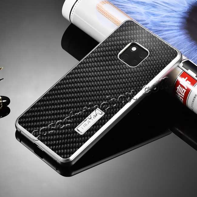 discount Shockproof Aluminium Metal Carbon Case for Huawei Mate 20 Pro - Black&Silver