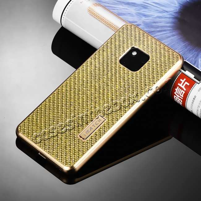 discount Shockproof Aluminium Metal Carbon Case for Huawei Mate 20 Pro - Gold