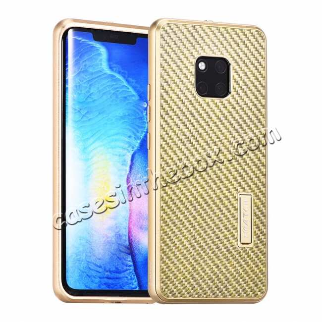 wholesale Shockproof Aluminium Metal Carbon Case for Huawei Mate 20 Pro - Gold