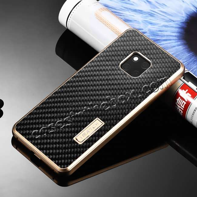discount Shockproof Aluminium Metal Carbon Case for Huawei Mate 20 Pro - Gold&Black