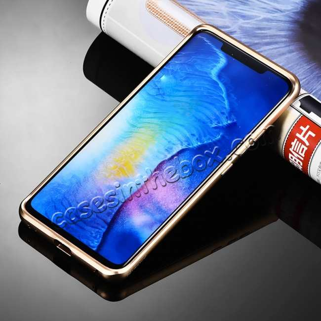 cheap Shockproof Aluminium Metal Carbon Case for Huawei Mate 20 Pro - Gold&Black