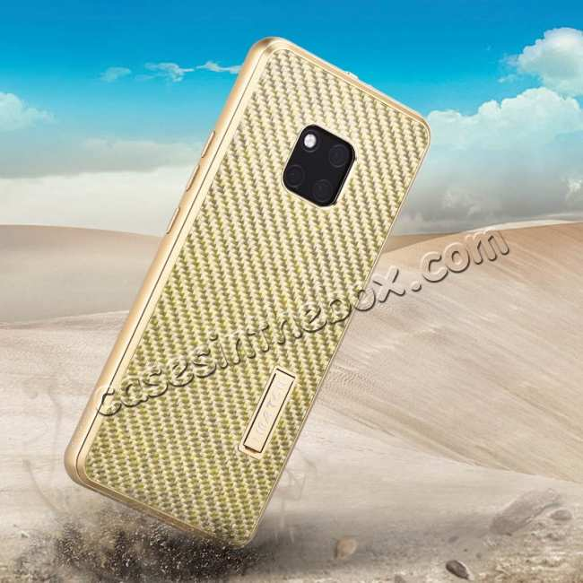 best price Shockproof Aluminium Metal Carbon Case for Huawei Mate 20 Pro - Gold&Black