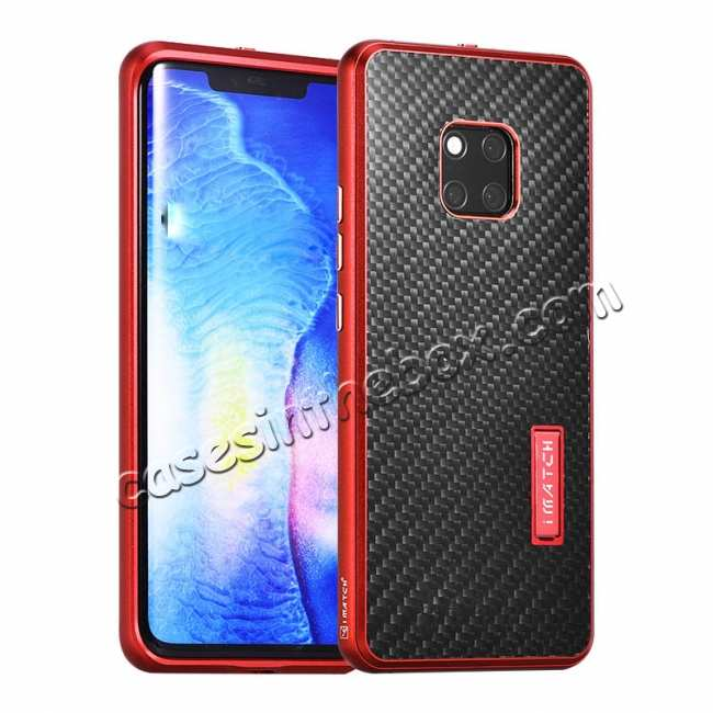 wholesale Shockproof Aluminium Metal Carbon Case for Huawei Mate 20 Pro - Red&Black
