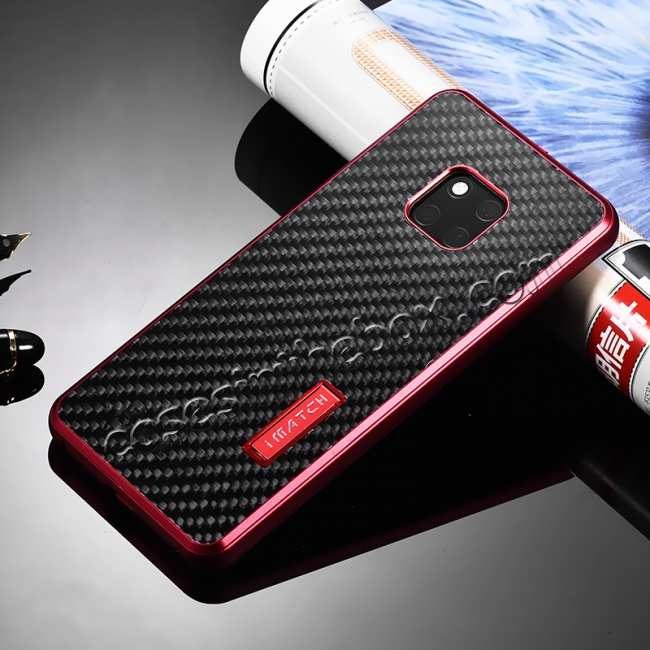 discount Shockproof Aluminium Metal Carbon Case for Huawei Mate 20 Pro - Red&Black