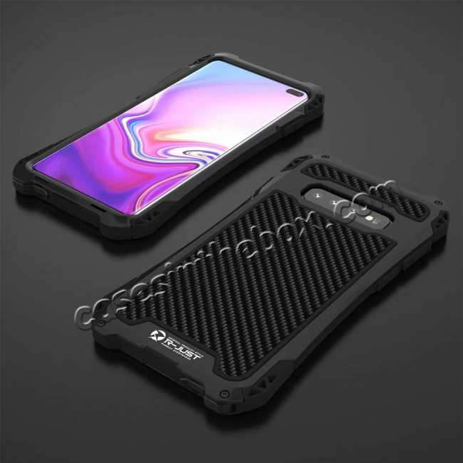discount For Samsung Galaxy S10 R-JUST Shockproof Carbon Fiber Metal Case Cover - Black