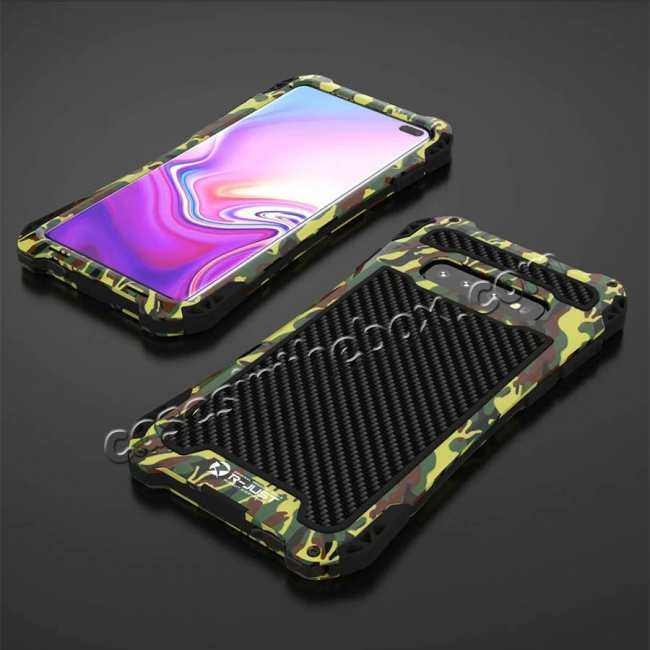 discount For Samsung Galaxy S10 R-JUST Shockproof Carbon Fiber Metal Case Cover - Camouflage