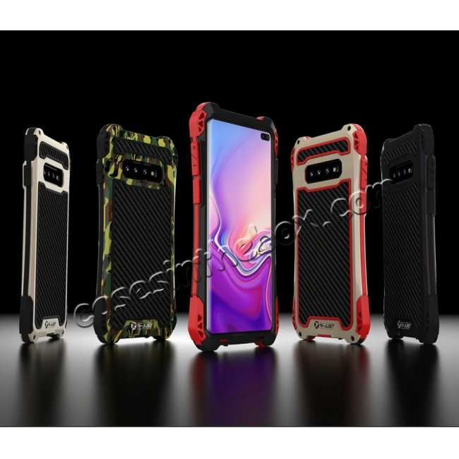 best price For Samsung Galaxy S10 R-JUST Shockproof Carbon Fiber Metal Case Cover - Black&Red