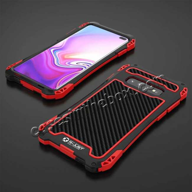 top quality For Samsung Galaxy S10 R-JUST Shockproof Carbon Fiber Metal Case Cover - Black&Red