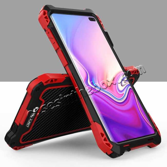 discount For Samsung Galaxy S10 R-JUST Shockproof Carbon Fiber Metal Case Cover - Black&Red