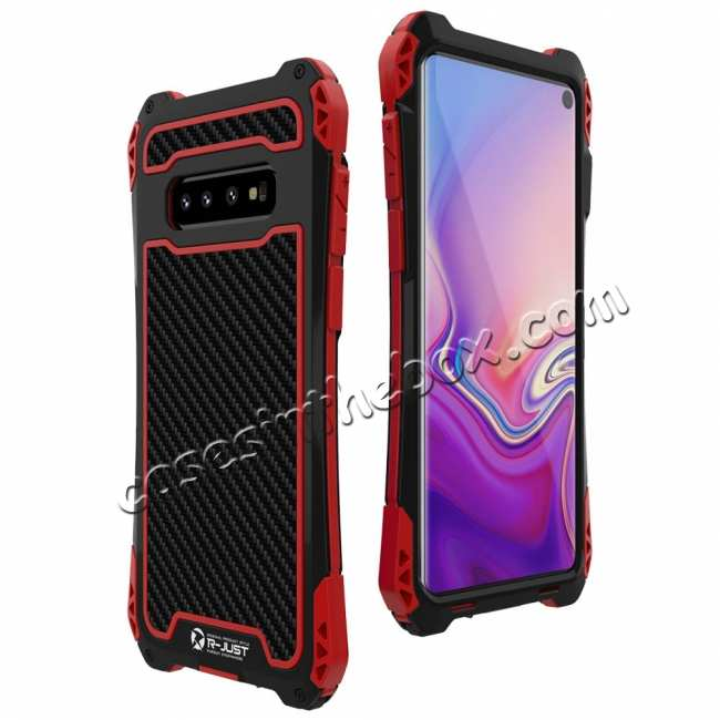 cheap For Samsung Galaxy S10 R-JUST Shockproof Carbon Fiber Metal Case Cover - Black&Red