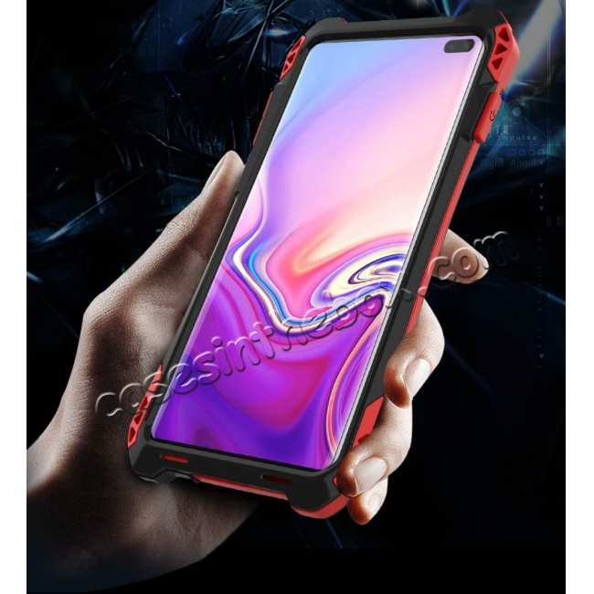 best price For Samsung Galaxy S10 R-JUST Shockproof Carbon Fiber Metal Case Cover - Red&Gold