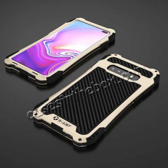 discount For Samsung Galaxy S10 R-JUST Shockproof Carbon Fiber Metal Case Cover - Black&Gold