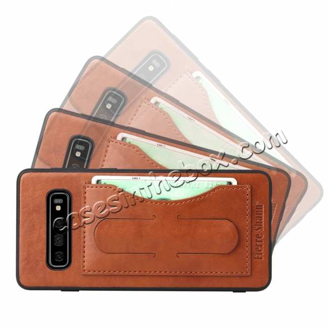 discount Stand Leather Back Case For Samsung Galaxy S10 - Brown
