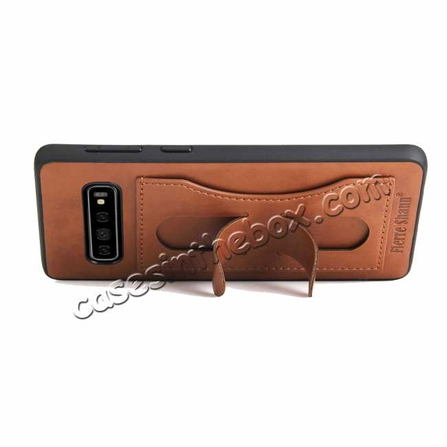 cheap Stand Leather Back Case For Samsung Galaxy S10 - Brown