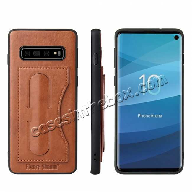 wholesale For Samsung Galaxy S10 Plus Leather Back Stand Case - Brown