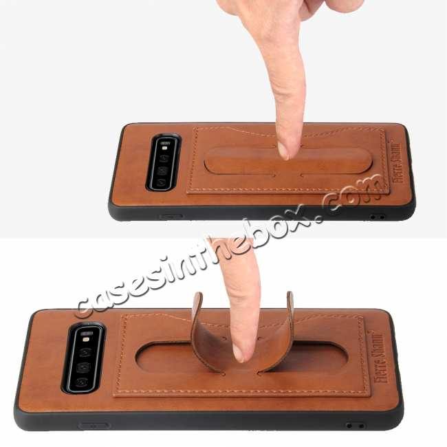 top quality For Samsung Galaxy S10 Plus Leather Back Stand Case - Brown