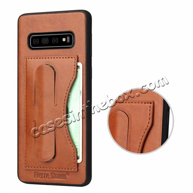 best price For Samsung Galaxy S10 Plus Leather Back Stand Case - Brown