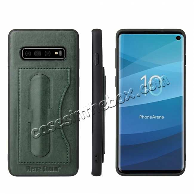 wholesale For Samsung Galaxy S10 Plus Leather Back Stand Case - Green