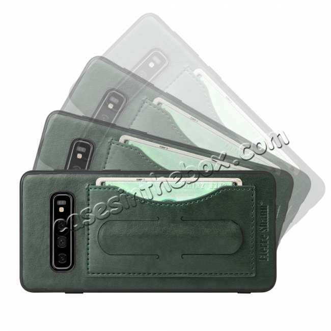 discount For Samsung Galaxy S10 Plus Leather Back Stand Case - Green