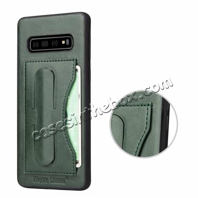 best price For Samsung Galaxy S10 Plus Leather Back Stand Case - Green