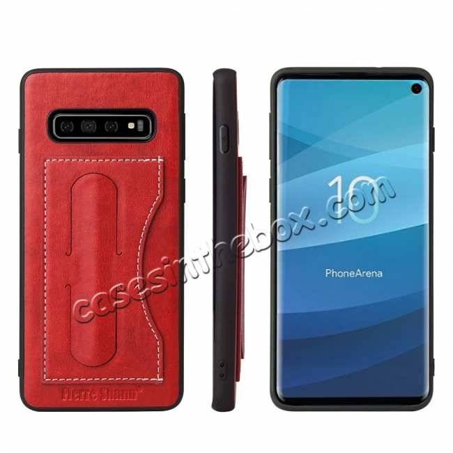 wholesale For Samsung Galaxy S10 Plus Leather Back Stand Case - Red