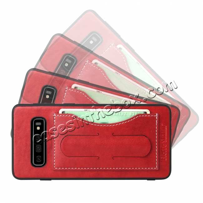 discount For Samsung Galaxy S10 Plus Leather Back Stand Case - Red