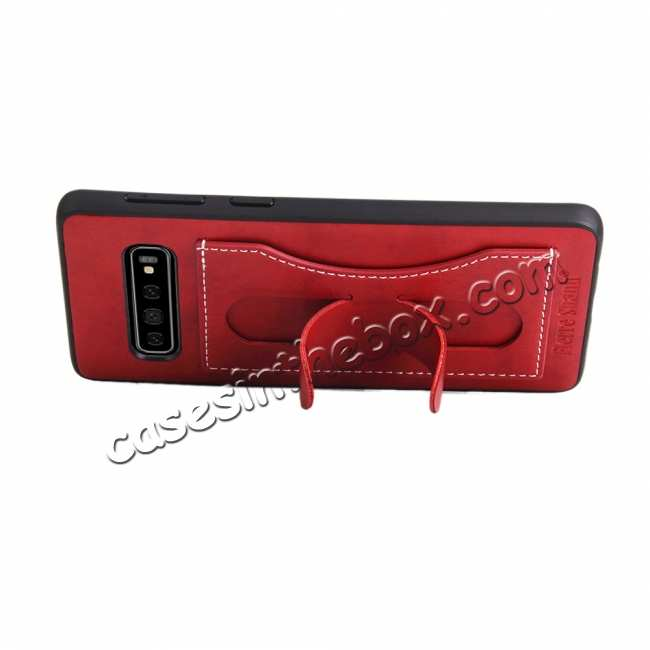 cheap For Samsung Galaxy S10 Plus Leather Back Stand Case - Red