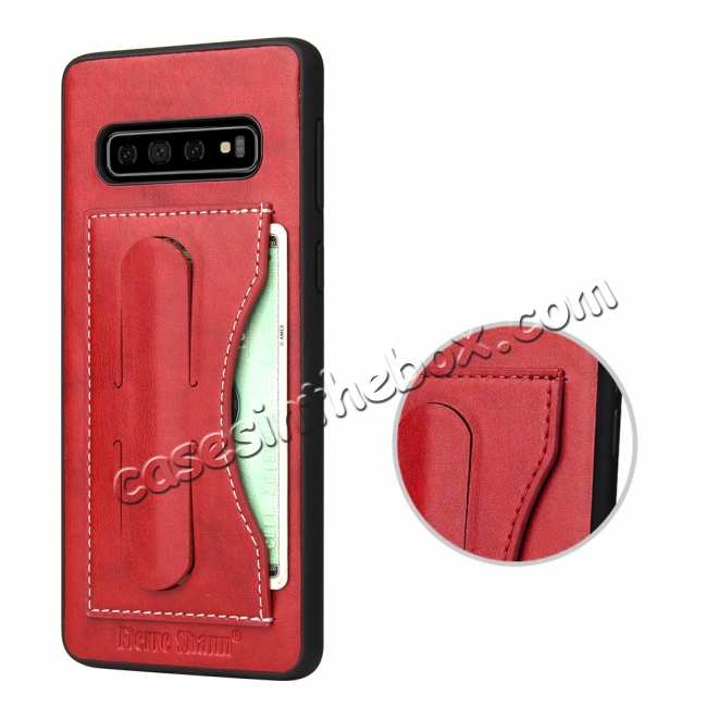 best price For Samsung Galaxy S10 Plus Leather Back Stand Case - Red