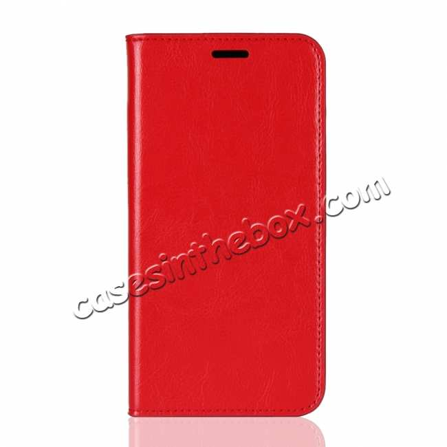 discount Genuine Leather Wallet Card Holder Case Magnetic Cover for Huawei Nova 4 - Red