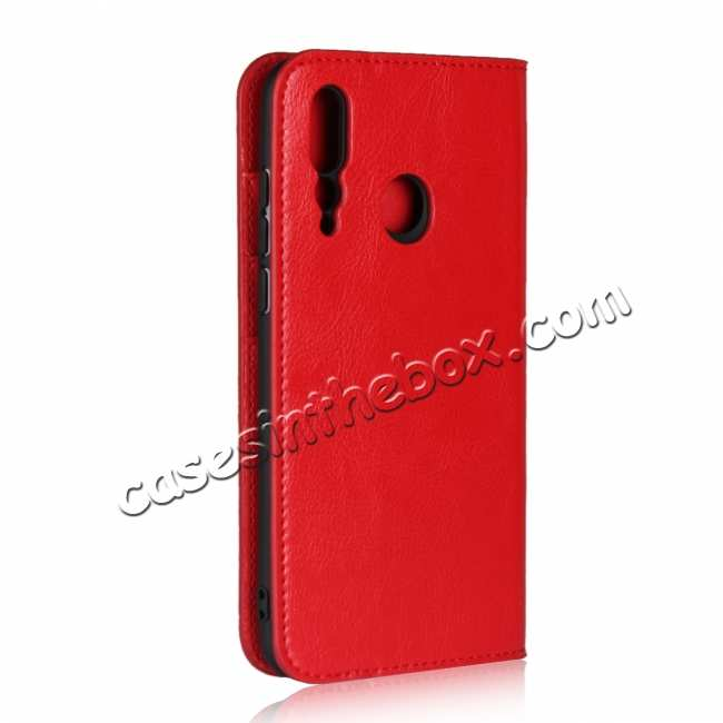 cheap Genuine Leather Wallet Card Holder Case Magnetic Cover for Huawei Nova 4 - Red