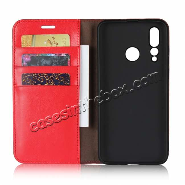 top quality Genuine Leather Wallet Card Holder Case Magnetic Cover for Huawei Nova 4 - Red