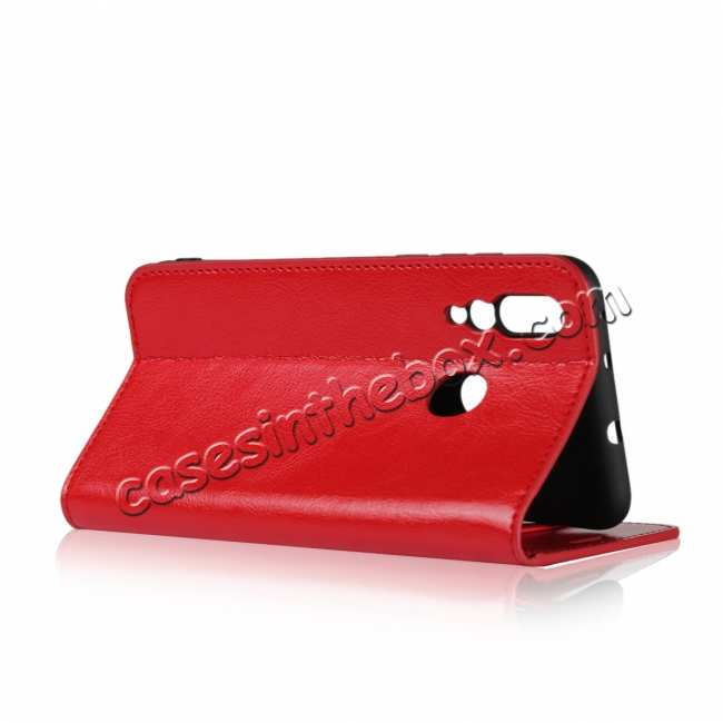 best price Genuine Leather Wallet Card Holder Case Magnetic Cover for Huawei Nova 4 - Red
