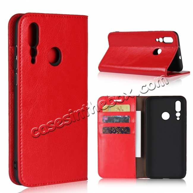 wholesale Genuine Leather Wallet Card Holder Case Magnetic Cover for Huawei Nova 4 - Red
